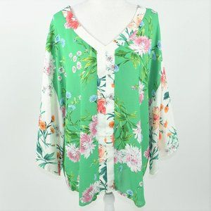 Chenault green floral spring blouse top